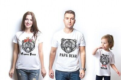 COUPLE T-SHIRT with Kid's- Mama Papa Baby Bear Funny Family Love Matching Outfit