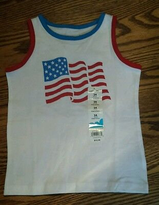 NWT Jumping Beans Boys Size 24 Months White USA Flag Tank Top Shirt Patriotic