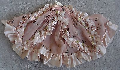 Vintage Ribbon Rose Pink Ruffled Trim Doll Skirt Glitter Flowers Salvaged