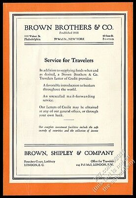 1930 Brown Brothers Harriman investment bank Service For Travelers vintage ad