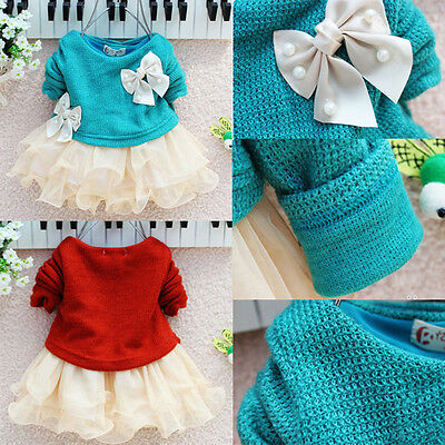 XMAS Party Baby Girls Knit Crochet Sweater Tops Lace Tulle Tutu Bowknot Dresses