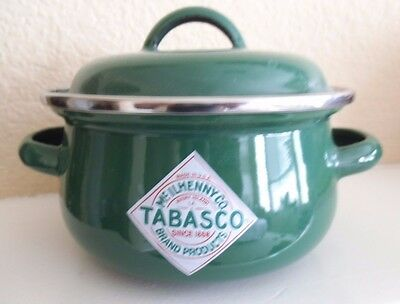 McIlhenny Co Tabasco Green Enamelware Individual Covered Caserole Pot/Bowl/Dish