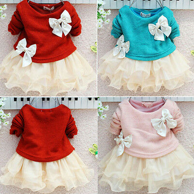 XMAS Princess Baby Girls Knit Sweater Tops Lace Tulle Tutu Bowknot Gown Dresses