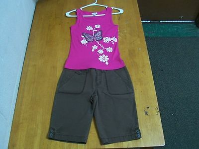 "Limited Too Brown Capris(NWT) & ""Butterfly"" Appliqued Tank Top-Sz. 14"