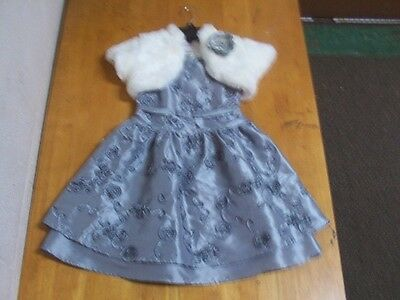 American Girl Gorgeous Holiday Dress & Matching Fur Shrug-Sz. 6