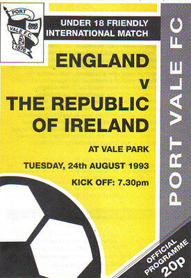 1993 ENGLAND v REPUBLIC OF IRELAND (U-18)