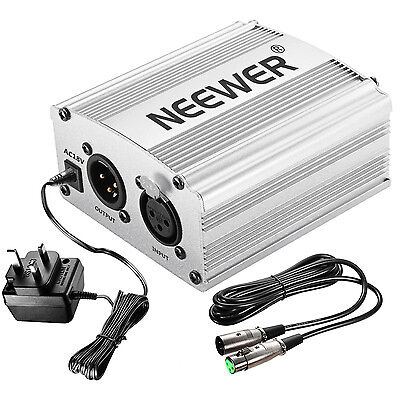 Neewer 1- Channel 48V Phantom Power Supply Sliver w/ Adapter and XLR Audio Cable