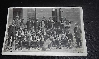 c1910-20 RP(REAL PHOTO)POSTCARD(MAN/DOG GROUP/DERELICT BUILDING/WAR DAMAGE?WW1?