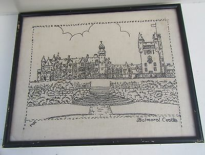 Vintage Framed Embroidery Picture of Balmoral Castle - (MA)
