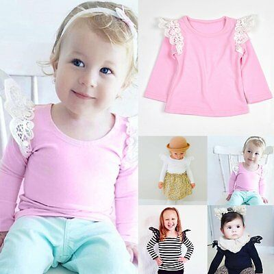 Newborn Toddler Kids Baby Girls Long Sleeve Lace Floral T-shirt Tee Tops Clothes