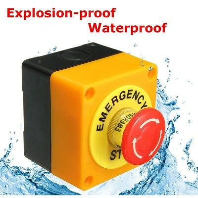 Red Sign Mushroom 1 NO 1NC 10A 660V Emergency Stop Push Button Switch Waterproof