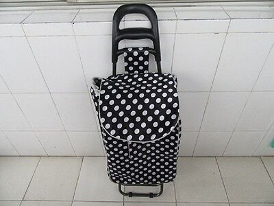 1X New Black Dotted Convenient Shopping Trolley Bag