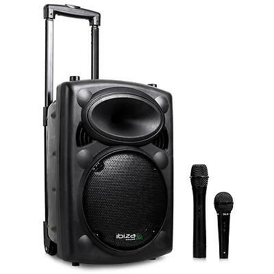 """IBIZA PORTABLE PA SYSTEM 400 W 8"""" ACTIVE SPEAKERS MP3 RADIO w.TROLLEY MP3 PLAYER"""
