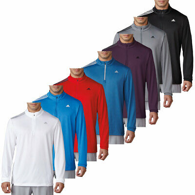 adidas Golf Mens 3-Stripes French Terry Pullover 1/4 Zip Sweater 30% OFF RRP