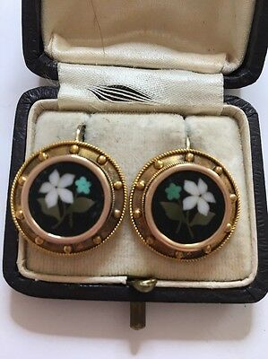 Antique Victorian Yellow Gold Pietra Dura Ornate Large Earrings