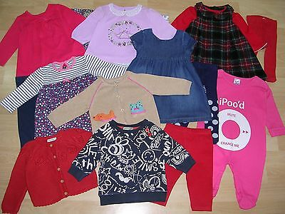 NEXT TU GEORGE  etc Girls Red Blue Bundle Outfits Tops Dress Tights Age 3-6m