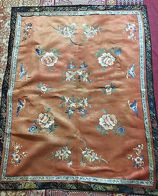 """Antique Chinese Wall Hanging Hand Embroidery On Silk 32"""" X 41"""""""