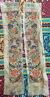 Two Superb Antique Chinese Embroidered Silk Sleeve Cuffs Band Panels For Robe