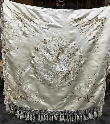 """ANTIQUE CHINESE WALL HANGING HAND EMBROIDERY ON SILK 44"""" X 43"""" Fringe 6"""""""