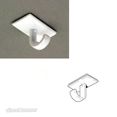 12 x Rectangle Ceiling 'J' Hook Buttons Adhesive foam base, 19 x 32mm Base