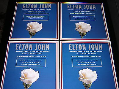 4 Elton John Promotional 12X12 Cards - Candle In The Wind '97