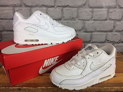 Nike Air Max 90 Childrens Trainers Full White Leather - Various Sizes