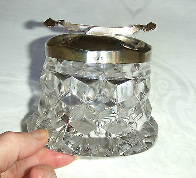 Fostoria American Cube Glass Suger Cuber with Silver Plated Lid - Pat No.186