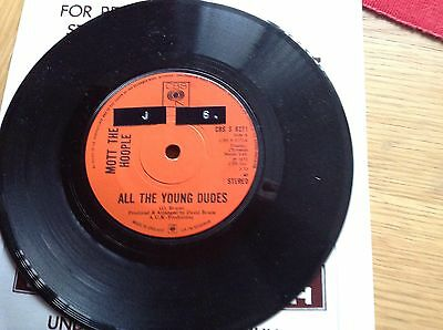 Mott The Hoople ( All The Young Dudes ) 1972 Vinyl 45 Rpm Record