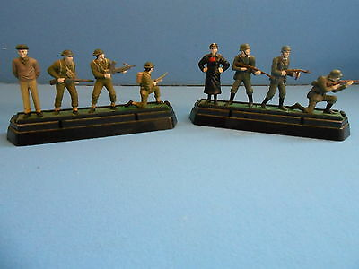 8 x 60mm Painted Metal World War II Figures slotted into plinth / holder