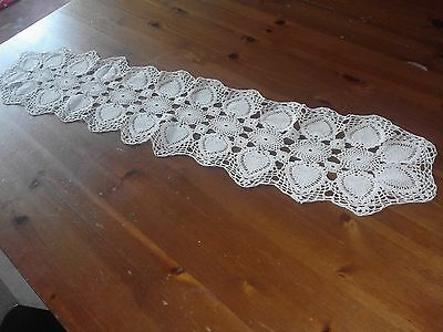 Pretty Vintage Crocheted Table Runner 8 inches x 38 inches