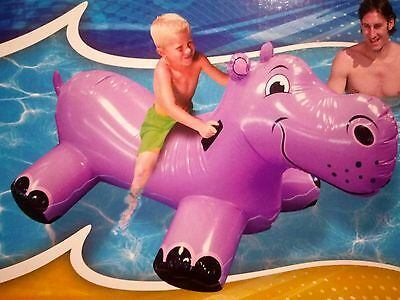 Giant Happy Hippo Ride On Inflatable Pool Toy Float Blow Up Hippopotamus
