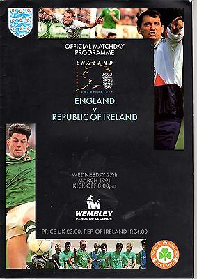 England v Republic of Ireland European Championships 27th March 1991 @ Wembley