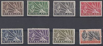 Nyasaland  1938 - 44  8 Leopard Definitive Stamps     Mounted Mint    (534)