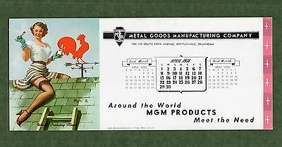 """MGM PRODUCTS Unused Blotter - 3⅞""""x9"""", Apr 1956, GIL ELVGREN Pin Up, Great Cond"""