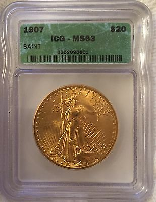 1907 Gold St Gaudens Double Eagle MS 63