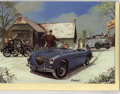 Austin Healey & Panther Motorcycle--Christmas Print Card--R.wheatland