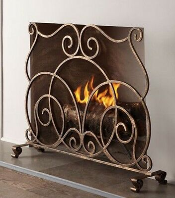 Neiman Marcus IRON Lyrical FIREPLACE SCREEN Hand Painted Finish singe panel
