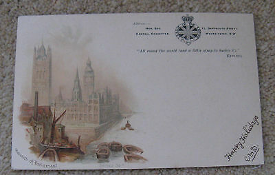 """League of the Empire. """"Houses of Parliament"""" Postcard addressed but not stamped"""