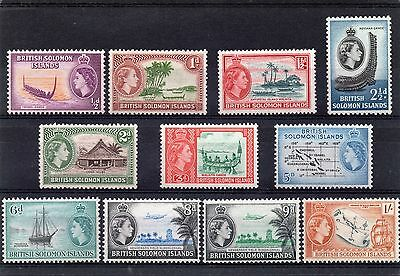 BR.SOLOMON IS. QE2 1956-63 short set to 1sh sg 82-91 NHM