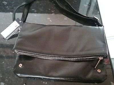 Black Faux Leather ladies handbag M&S Brand new with tags