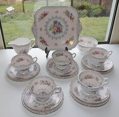 Shelley China Pink Crochet Teaset 5 Trio Cup Saucer Plate Milk Sugar Cake Plate