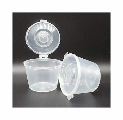 Plastic Food Grade Storage Container Pot Tub with a Hinged Lid - 100ml 4oz