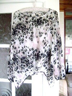 Ladies, Animal Print, Long Sleeved, Chiffon Top, Size 12 ( 40 ) by Next.