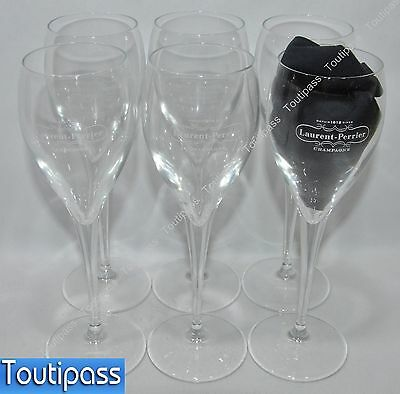 LAURENT-PERRIER CHAMPAGNE 6 Verres coupes flutes 15 cl marquage corps NEUF