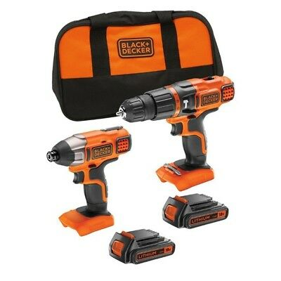Black Decker 18V Cordless Combi Hammer Drill + Impact Driver Twin Pack - 2 Batts