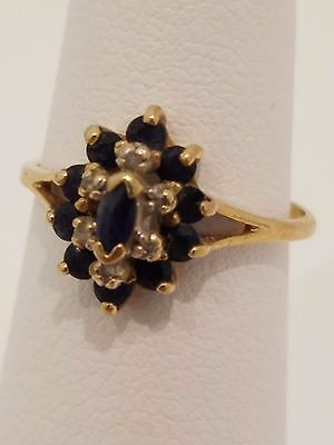Vintage 10k blue sapphire and diamond ring