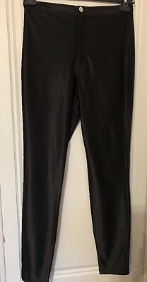 Ladies Black 'wet look' Shiny Skinny Trousers River Island Size 12 Hardly Worn