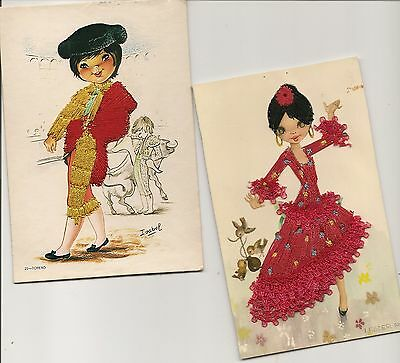 Old Postcards-2 EMBROIDERED  Cards-Spanish Type Dress-Spain