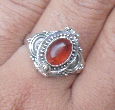 Size 6-AT08-925 Sterling Silver Balinese Poison/Locket Ring With Amber Cab