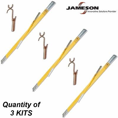 Jameson 21' Fiberglass Hollow Pole Kit/Lay Up Stick Set+Wire Raiser - QTY of 3